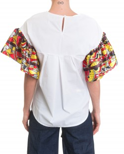 BLOUSE WITH PATTERNED SLEEVES 91MPT819