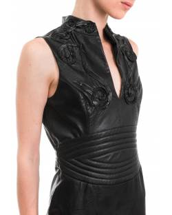 ECO-LEATHER DRESS WITH EMBROIDERY 92GPT101
