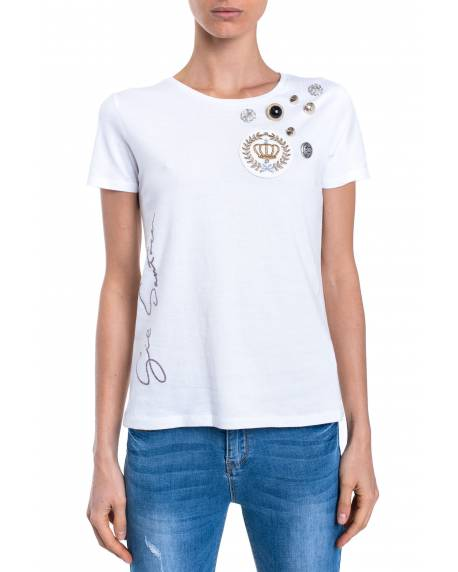 T-SHIRT WITH PATCH AND JEWEL DETAILS 01NPT214