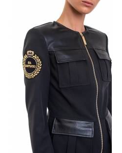 JACKET WITH LOGO PATCH AND ECO-LEATHER INSERTS 02XPT910