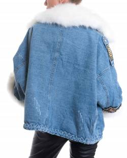 JEANS JACKET WITH JEWEL APPLICATIONS 02CPT519
