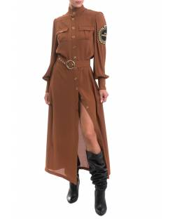 LONG DRESS WITH LOGO PATCH AND BELT 02XPT900