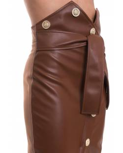ECO-LEATHER SKIRT WITH PERSONALIZED GOLD METAL BUTTONS 02XPT906