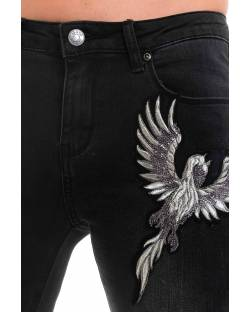 JEANS WITH PHOENIX EMBROIDERED ON THE FRONT 02CPT505