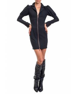 DRESS WITH PUFFED SHOULDERS AND FRONT ZIPPER 02XPT904