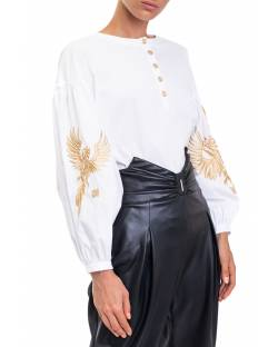 SHIRT WITH BALLOON SLEEVES AND EMBROIDERED PHOENIX 02XPT925