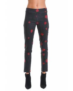 STRIPED TROUSER WITH ROSES 02BPT736