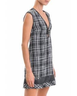 TARTAN DRESS WITH FAUX-LEATHER DRESS 02RPT637