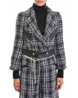 TARTAN JACKET WITH BELL-SHAPED SLEEVES AND FAUX-LEATHER INSERTS 02RPT638