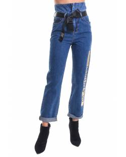 HIGH WAIST JEANS WITH LAMINATED LOGO PRINT AND LOGO RIBBON AT WAIST 02CPT523