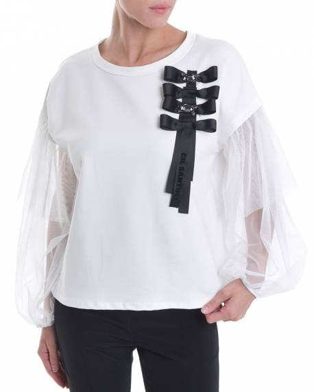 CREW NECK SWEATER WITH DECORATIVE BOWS AND TRASPARENT SLEEVES 02CPT531