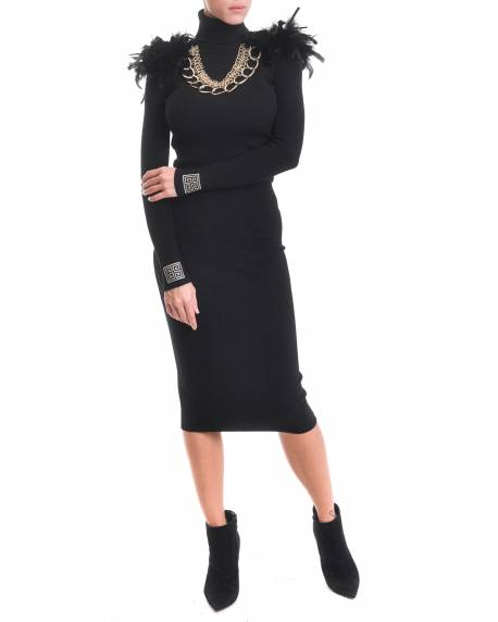 HIGH NECK DRESS WITH FEATHERS AND JEWEL APPLICATIONS 02CPT546