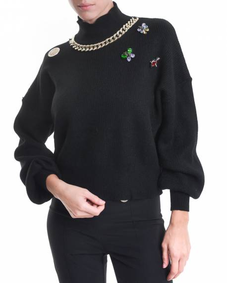 HIGH NECK SHIRT WITH BALLOON SLEEVES AND JEWEL APPLICATIONS 02CPT561