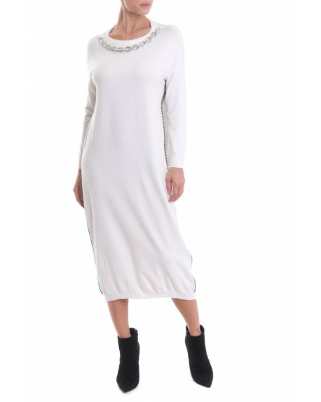 LONG DRESS WITH CONTRASTING JEWEL APPLICATIONS 02CPT563