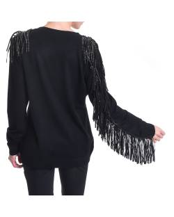 CREW NECK SWEATER WITH FRINGES TONE ON TONE 02NPT227