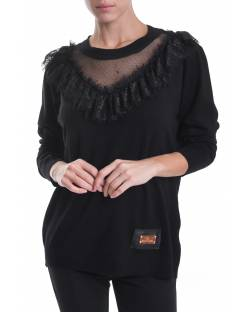CREW NECK SWEATER WITH TRASPARENT INSERT AND LACE 02NPT251