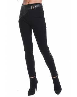 TROUSER WITH FAUX LEATHER INSERT AT THE WAIST 02RPT641