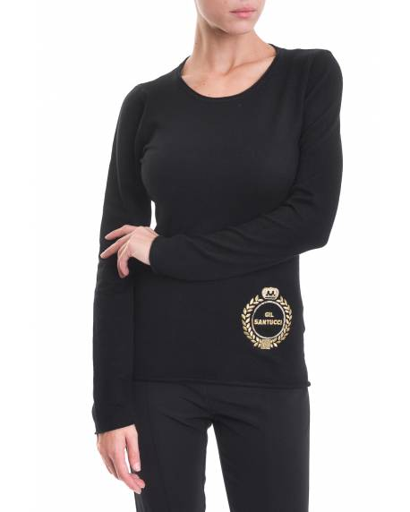 CREW NECK SWEATER WITH LOGO EMBROIDERED IN GOLD THREAD AND PAILLETTES 02SPT410
