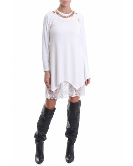 MAXI SWEATER/DRESS WITH LACE PETTICOAT 02SPT430