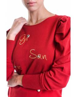 SWEATER WITH PUFFED SHOULDERS AND EMBROIDERED LOGO 02SPT435
