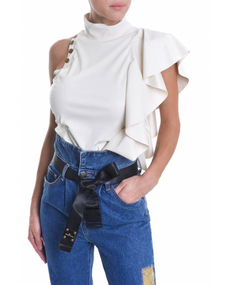 ECO-LEATHER TOP WITH RUFFLES ON THE SHOULDER 02XPT911