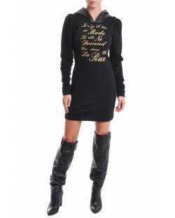 DRESS WITH EMBROIDERY AND FAUX LEATHER HOOD 02XPT947