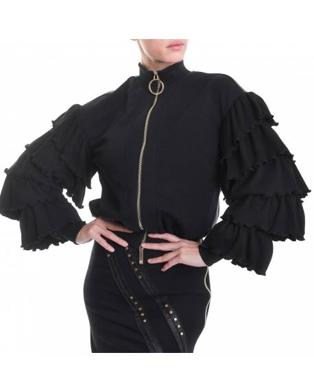 BOMBER WITH EMBROIDERY AND RUFFLES ON THE SLEEVES 02XPT948