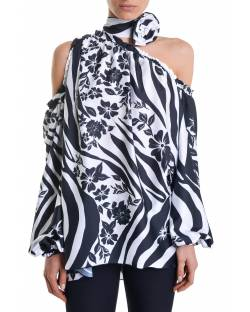 PRINTED SATIN BLOUSE WITH OPEN SHOULDERS 11RPT619