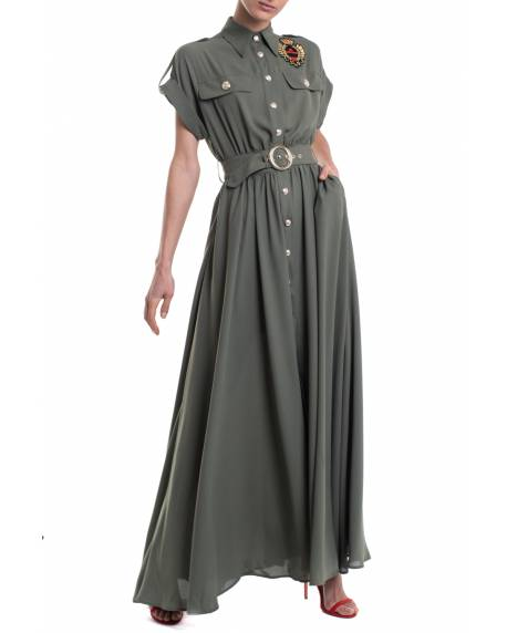 LONG GEORGETTE DRESS WITH PERSONALIZED ACCESSORIES 11XPT928