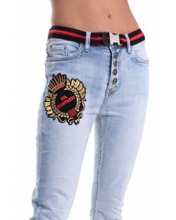 JEANS WITH STRETCH BELT AND CUSTOM PATCH ON THE FRONT 11CPT528