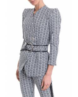 PRINTED JACKET WITH BELT AND LOGATED DETAILS 11XPT908