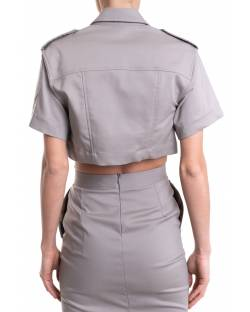 CROP JACKET WITH LOGATED PRESS BUTTONS 11XPT913