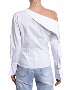 POPELINE SHIRT WITH ASYMMETRICAL NECKLINE 11XPT924