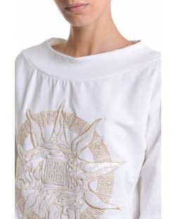 BOAT NECKLINE SWEATSHIRT WITH EMBROIDERED LOGO 11BPT701