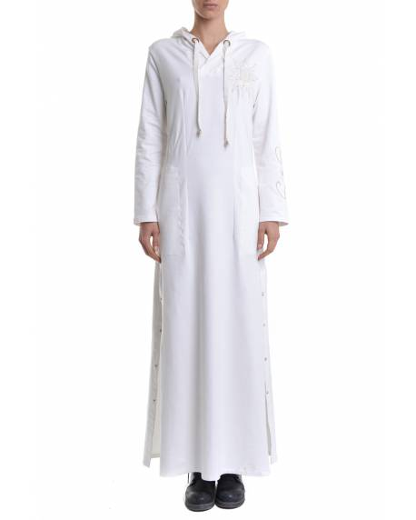 DRESS WITH LOGO EMBROIDERY AND BUTTONS FOR SIDE SLITS 11BPT709