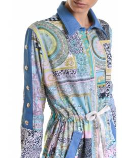 PATTERNED TRENCH COAT WITH COMBINED FABRICS AND LOGO DETAILS 11BPT726