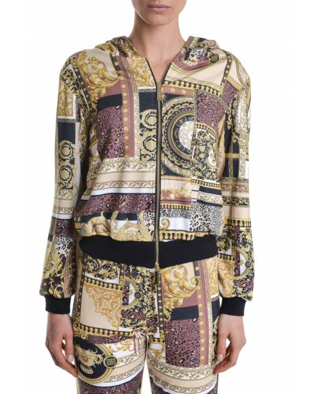 HOODED PATTERNED BOMBER JACKET 11BPT727