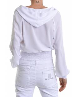 GEORGETTE BOMBER JACKET WITH HOOD AND LOGATED DETAILS 11RPT607
