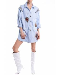 DENIM TRENCH WITH EMBROIDERY AND APPLICATIONS 11CPT527
