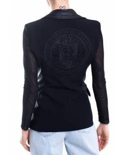 ECO- LEATHER AND FABRIC JACKET WITH EMBROIDERED LOGO ON THE BACK 11XPT953