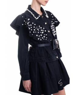 DENIM JACKET WITH ROUCHES AND HAND EMBROIDERED PEARLS 11CPT536