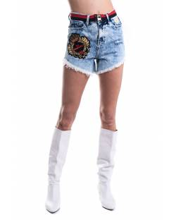 WASHED DENIM SHORTS WITH STRAPS AND LOGATED DETAILS 11CPT514