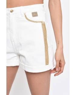 DENIM SHORTS WITH DECORATIONS 11CPT566