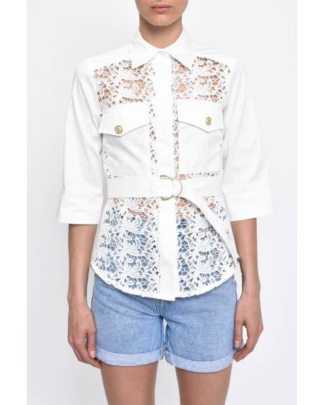 POPELINE SHIRT WITH LACE INSERTS 11RPT633