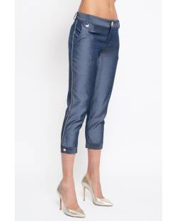CHAMBRAY TROUSERS WITH DETAILS 11XPT951