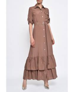 VISCOSE DRESS WITH ROUCHES 11XPT957