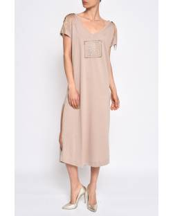 COTTON DRESS WITH DECORATED STRAPS 11CPT589