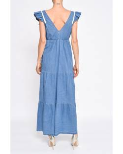 DENIM EFFECT DRESS WITH ROUCHES 11CPT596