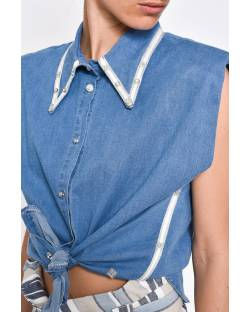 DENIM EFFECT SHIRT WITH STUDS 11CPT597