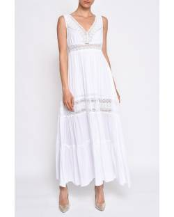 VISCOSE DRESS WITH DECORATED NECKLINE 11XPT968